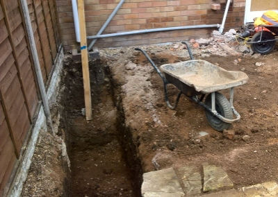 Footings being dug out by MB Digger Hire Worcester